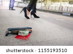leather purse with a money and... | Shutterstock . vector #1155193510