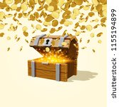 open chest with gold  falling... | Shutterstock .eps vector #1155194899