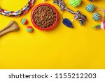 bowl with food for cat or dog... | Shutterstock . vector #1155212203