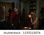 skilled long bearded blacksmith ...   Shutterstock . vector #1155213076