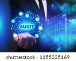 Small photo of Business, Technology, Internet and network concept. Young businessman working on a virtual screen of the future and sees the inscription: Audit