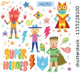 superheroes cartoon colorful... | Shutterstock .eps vector #1155228100