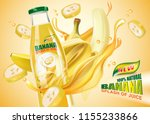 banana bottled juice with fresh ... | Shutterstock .eps vector #1155233866