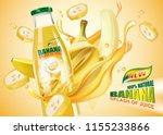 banana bottled juice with fresh ... | Shutterstock .eps vector #1155233866