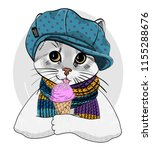 vector cat with blue hat ... | Shutterstock .eps vector #1155288676