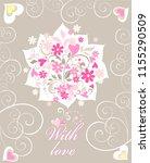 beautiful flat greeting card...   Shutterstock . vector #1155290509
