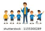 happy children soccer football... | Shutterstock .eps vector #1155300289