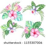 watercolor tropical flowers...   Shutterstock . vector #1155307006
