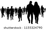crowd of people going to a... | Shutterstock .eps vector #1155324790