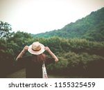landscape with blond woman... | Shutterstock . vector #1155325459