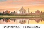 panoramic view of taj mahal at... | Shutterstock . vector #1155338269