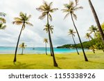 idyllic tropical beach with... | Shutterstock . vector #1155338926