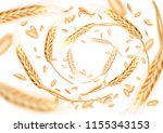 wheat ears and grains whirl in... | Shutterstock . vector #1155343153