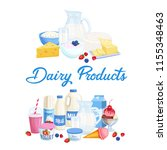 vector banners dairy products.... | Shutterstock .eps vector #1155348463