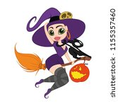 vector illustration witch on... | Shutterstock .eps vector #1155357460