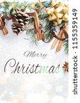 christmas composition. gift box ... | Shutterstock . vector #1155359149