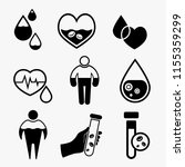 anemia and hemophilia icons set ... | Shutterstock .eps vector #1155359299