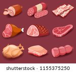 meat icon set vector fresh meat ... | Shutterstock .eps vector #1155375250