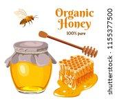 honey set. vector illustration... | Shutterstock .eps vector #1155377500