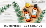 banner for eucalyptus oil.... | Shutterstock .eps vector #1155381403