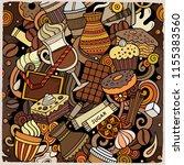cartoon vector doodles coffee... | Shutterstock .eps vector #1155383560