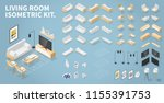 vector isometric set of living... | Shutterstock .eps vector #1155391753