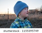 small caucasian blond boy in... | Shutterstock . vector #1155395749