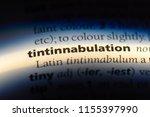 Small photo of tintinnabulation word in a dictionary. tintinnabulation concept.