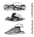 atlantic tidal waves. vintage... | Shutterstock .eps vector #1155401803