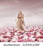 fine art image. young blonde in ... | Shutterstock . vector #1155411289