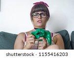 nerdy hipster or gamer girl... | Shutterstock . vector #1155416203
