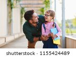first day at school. father... | Shutterstock . vector #1155424489