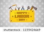 labor day celebration icon with ... | Shutterstock .eps vector #1155424669