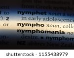 Small photo of nympho word in a dictionary. nympho concept.