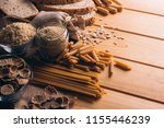 wooden table full of fiber rich ... | Shutterstock . vector #1155446239