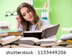 young female student preparing... | Shutterstock . vector #1155449206