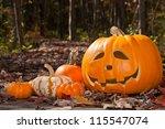 Jack O Lantern And Pumpkins On...