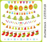 set of  hristmas  bunting and... | Shutterstock .eps vector #115551418