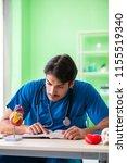 doctor student explaining heart ...   Shutterstock . vector #1155519340