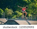 skateboarder skateboarding on... | Shutterstock . vector #1155529093
