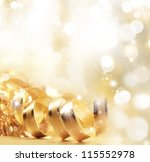 golden christmas ribbon | Shutterstock . vector #115552978