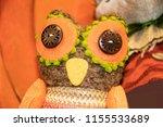 Textile Owl With Button Eyes...