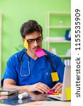 young doctor sitting in...   Shutterstock . vector #1155535909