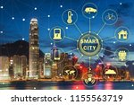concept of smart city and... | Shutterstock . vector #1155563719