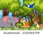 wild animals in the woods... | Shutterstock .eps vector #1155565759