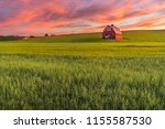 Red barn in washington field at ...