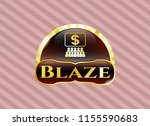gold badge or emblem with... | Shutterstock .eps vector #1155590683