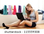 Beautiful Woman With Laptop On...