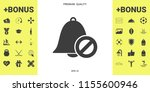 no bell icon. prohibition sign. ... | Shutterstock .eps vector #1155600946