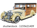 retro woody car | Shutterstock .eps vector #1155621409